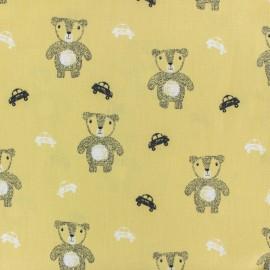Tissu coton popeline Poppy Ourson mignon - jaune x 10cm