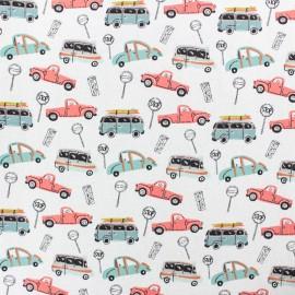 Tissu coton popeline Poppy Traffic Jam - blanc x 10cm