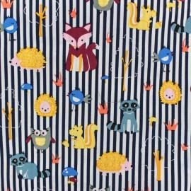 Cotton poplin fabric Poppy - Blue Animals Poppins x 10cm