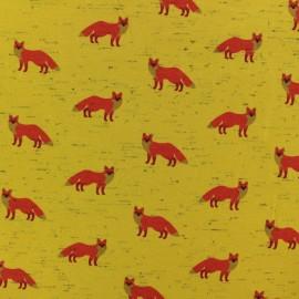 Poppy Jersey fabric - yellow fancy fox x 10cm