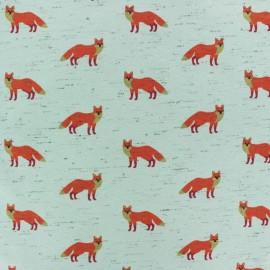 Poppy Jersey fabric - celadon fancy fox x 10cm