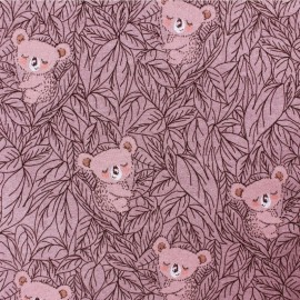 French Terry Fabric - pink koala x 10cm