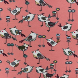 Poppy Jersey fabric - Coral pink Beautiful birds x 10cm