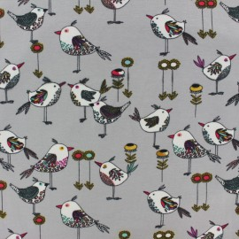 Poppy Jersey fabric - Grey Beautiful birds x 10cm