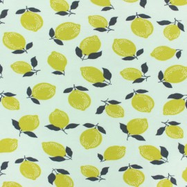 Poppy Jersey fabric - Blue Lime x 10cm
