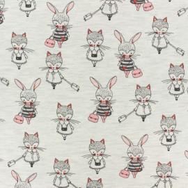 Tissu jersey Poppy Girls Promenade - gris clair x 10cm