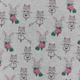 Poppy Jersey fabric - Grey Girls Promenade x 10cm