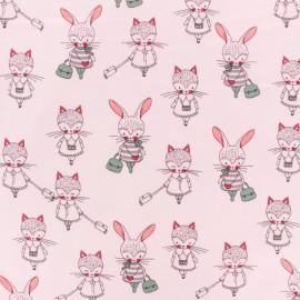 Poppy Jersey fabric - Pink Girls Promenade x 10cm