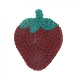 Hooked strawberry iron-on applique - burgundy