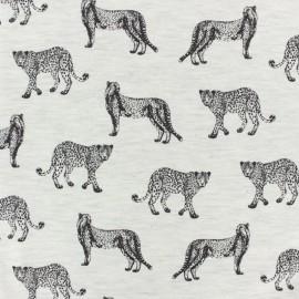 Poppy Jersey fabric - light grey Leopard x 10cm