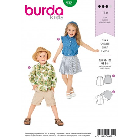 Shirt Sewing Pattern - Burda Kids N°9321