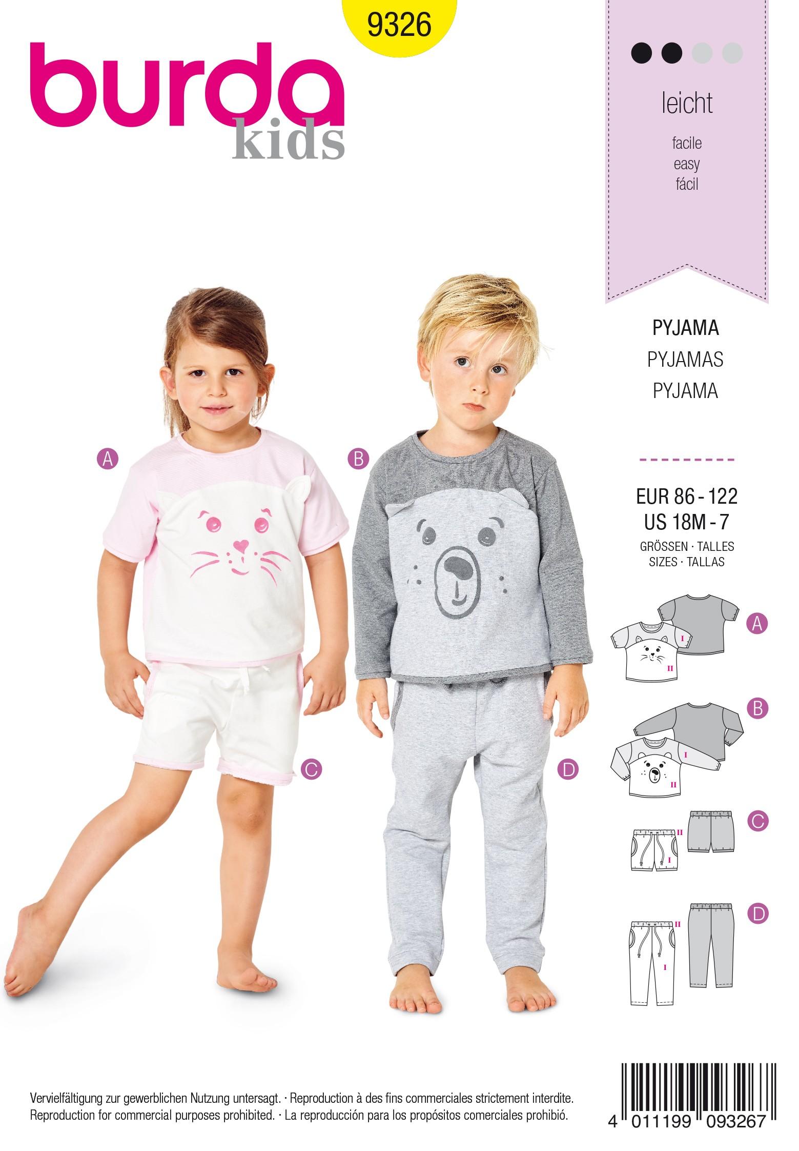 cd04548ce5 Pajamas Sewing Pattern - Burda Kids N°9326