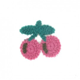 Hooked cherry iron-on applique - pink