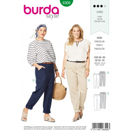 Plus Size Pants Sewing Pattern - Burda Women N°6309