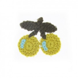 Hooked cherry iron-on applique - lime