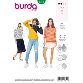 Sweatshirt Hoodie Sewing Pattern - Burda Women N°6315