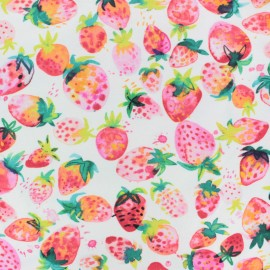 Poppy Jersey fabric - White Aquarelle Stawberry x 10cm