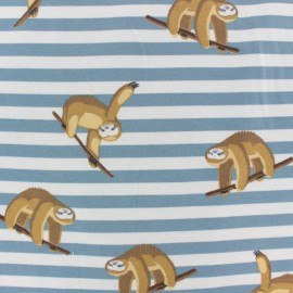Striped Cotton Jersey fabric - Blue sloth x 10cm
