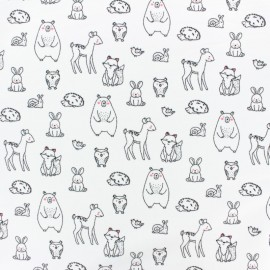 Poppy French Terry fabric - White Adorable animals x 10cm