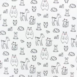 Tissu Poppy sweat léger adorables animaux - blanc x 10cm