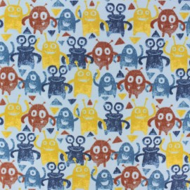 Poppy French Terry fabric - blue monster x 10cm