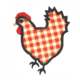 Gingham Hen iron-on applique - red/white