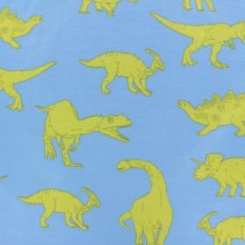 Poppy French Terry fabric - blue Powerful Dinosaurs x 10cm