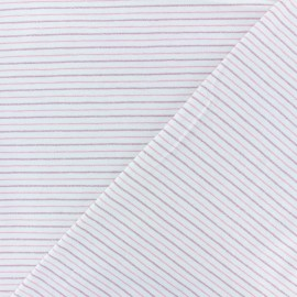 Cotton Jersey fabric - off-white/pink Dina lurex Stripes x 10 cm