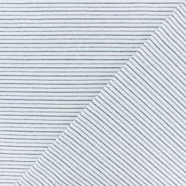 Cotton Jersey fabric - off-white/navy Dina lurex Stripes x 10 cm