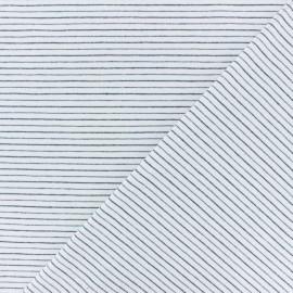 Tissu jersey rayé lurex Dina - écru/bleu marine x 10cm
