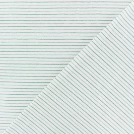 Cotton Jersey fabric - off-white/sarcelle Dina lurex Stripes x 10 cm