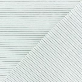 Tissu jersey rayé lurex Dina - écru/sarcelle x 10cm