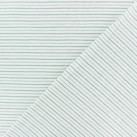 Cotton Jersey fabric - off-white/light blue Dina lurex Stripes x 10 cm