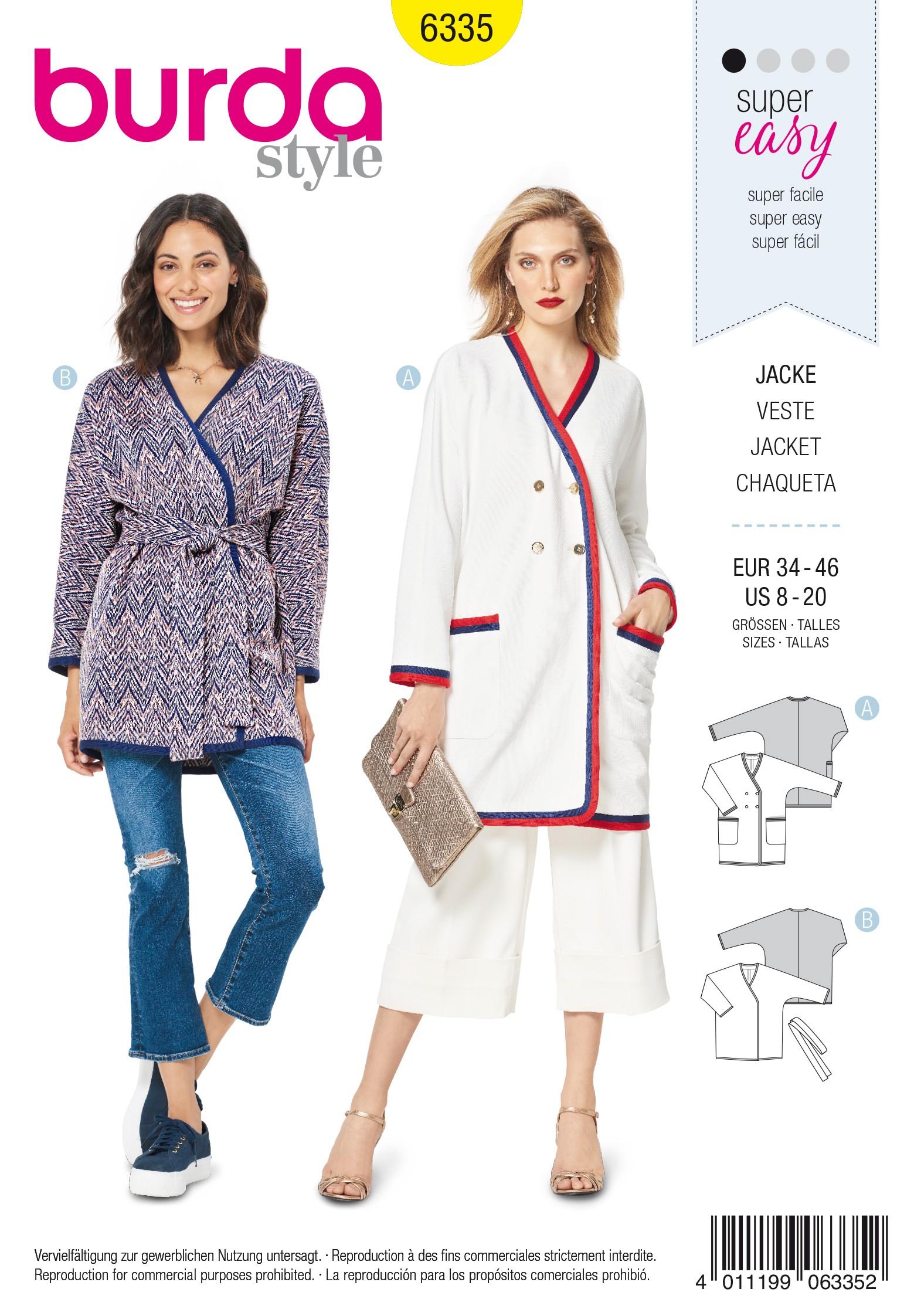 061ba9a5c Crossover Jacket Sewing Pattern - Burda Women N°6335