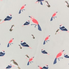 ♥ Coupon 30 cm X 140 cm ♥ Viscose fabric by Penelope® - beige Birdy