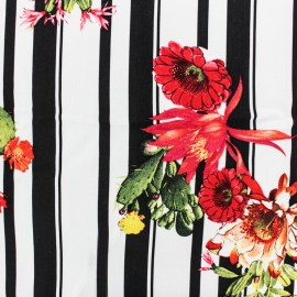 Striped Viscose fabric - black/white Cactus x 10cm