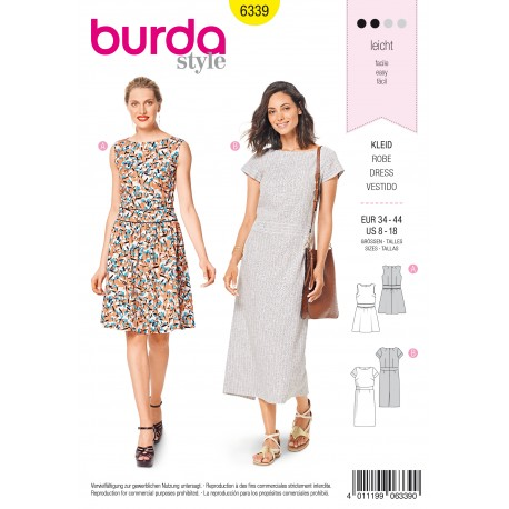 Dress Sewing Pattern Burda Women N 6339
