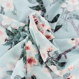 Microfiber fabric -  sky blue Cherry blossom x 10cm