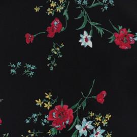 Tissu crêpe coquelicot - noir x 10cm