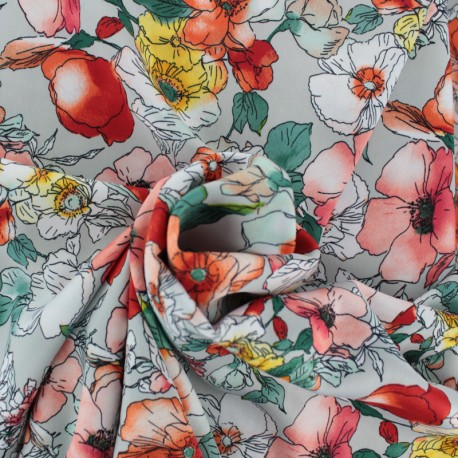 Tissu Royal micro satin by Penelope® Julieta - gris x 10cm