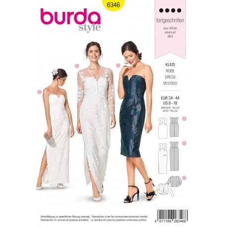 Evening Gown Wedding Dress Sewing Pattern - Burda Women N°6346