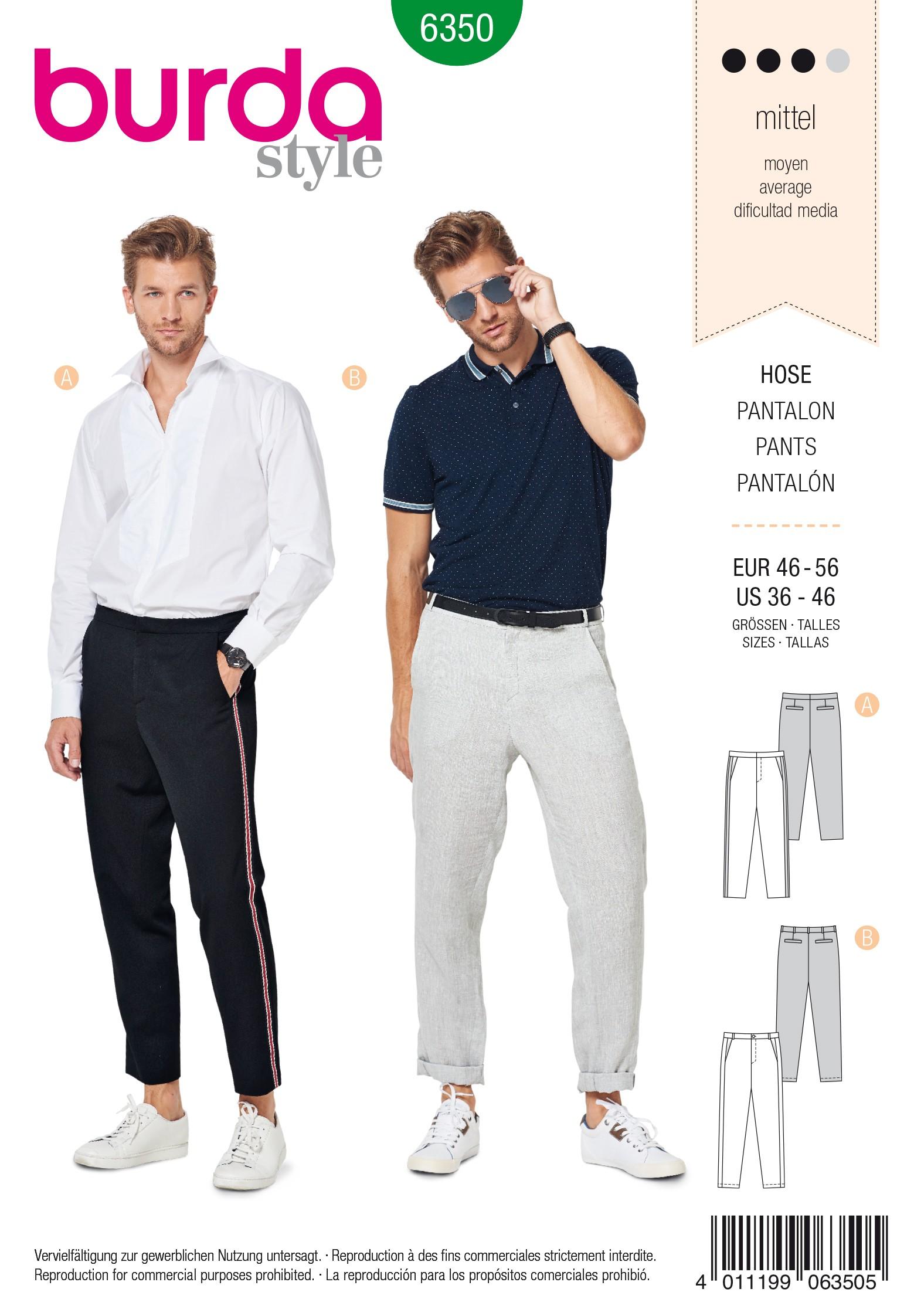 4b18763ec520b7 Trousers Sewing Pattern - Burda Men N°6350