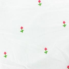 Tissu voile de coton brodé fleur - blanc x 10cm