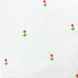 Embroidered Cotton voile Fabric - white flower x 10cm