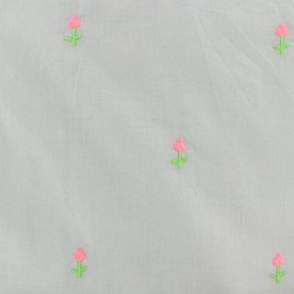 Embroidered Cotton voile Fabric - grey flower x 10cm