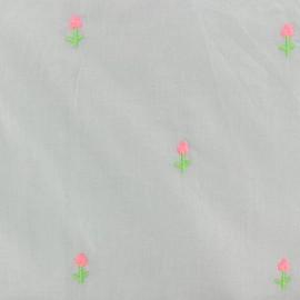 Tissu voile de coton brodé fleur - gris x 10cm