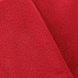 Tissu Doudou uni rouge x 10cm
