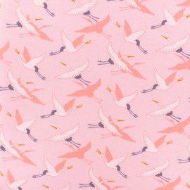 Poppy French Terry fabric - light pink Crane Birds x 10cm