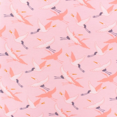 Poppy French Terry fabric - light pink Crane Birds x 10cm