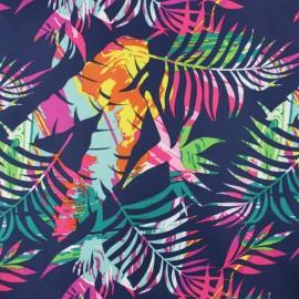 Tissu déperlant souple Exotic palm - bleu x 10cm